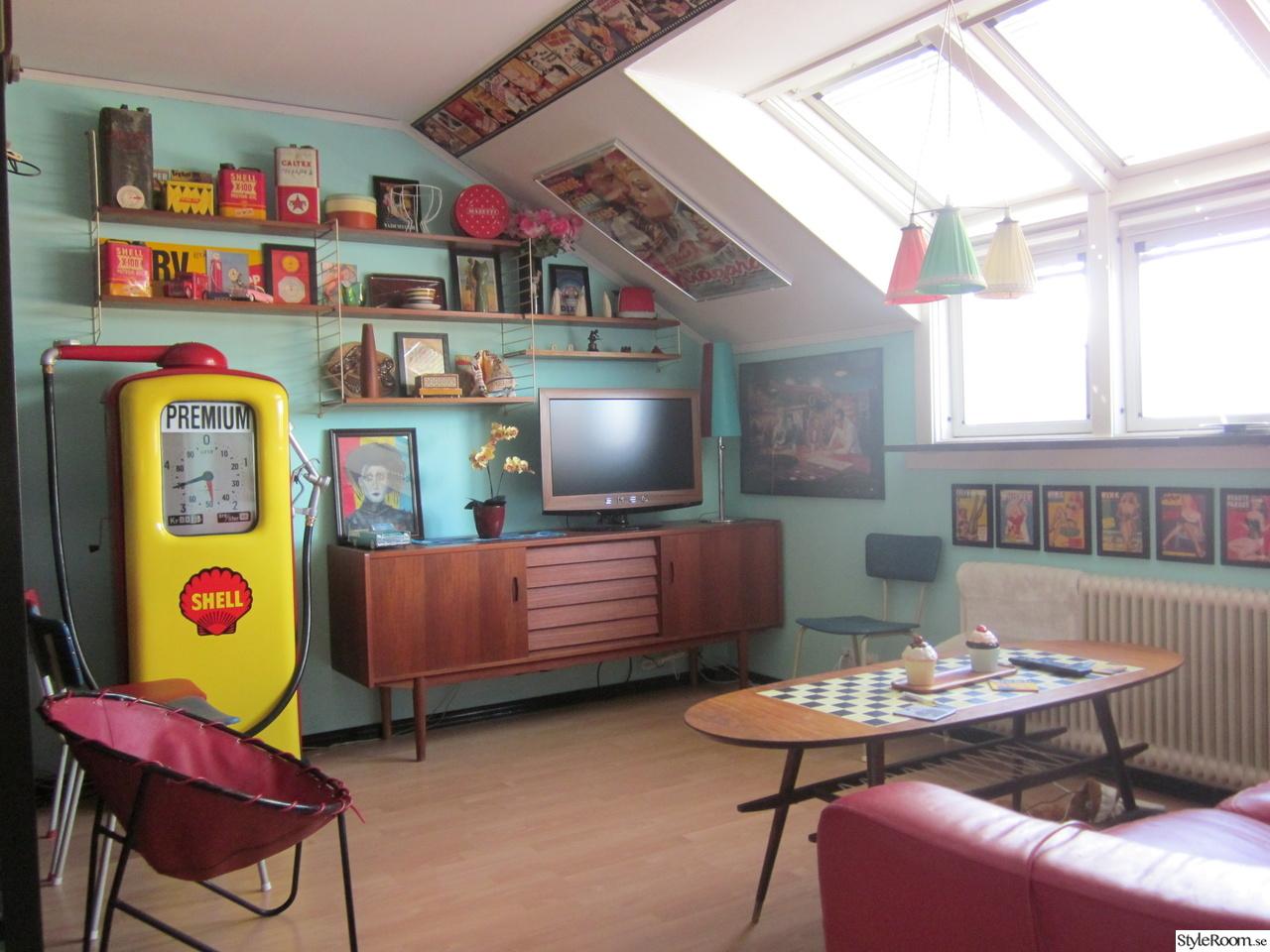50-tal,retro,nostalgi,vardagsrum,teak,sideboard,soffbord,bensinpump ...