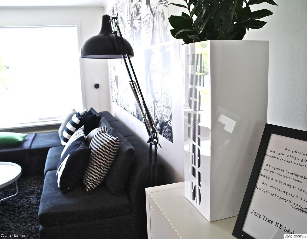 stor kruka,jtp-design,kuddar,svart,tophat,lamap,golvlampa,ikea stockholm,soffa,vev telefon,väska,lampa,tapet,vitt