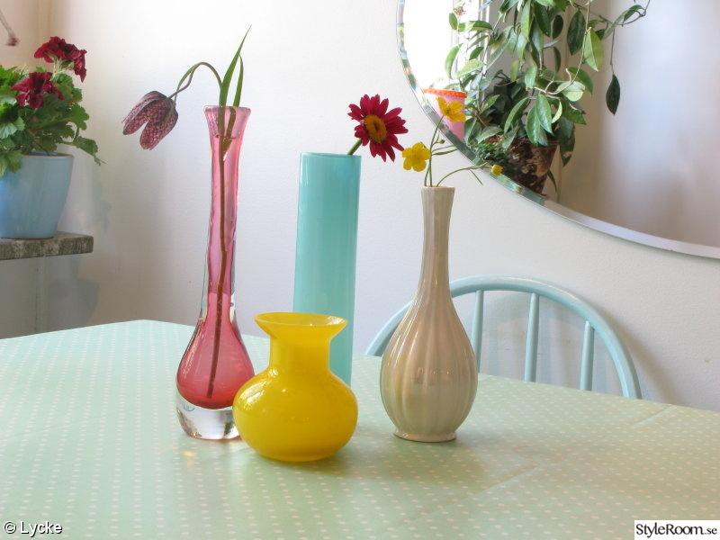 Kok Turkost : kok turkost  vaser vas prickig vaxduk koksbord turkost ros gult