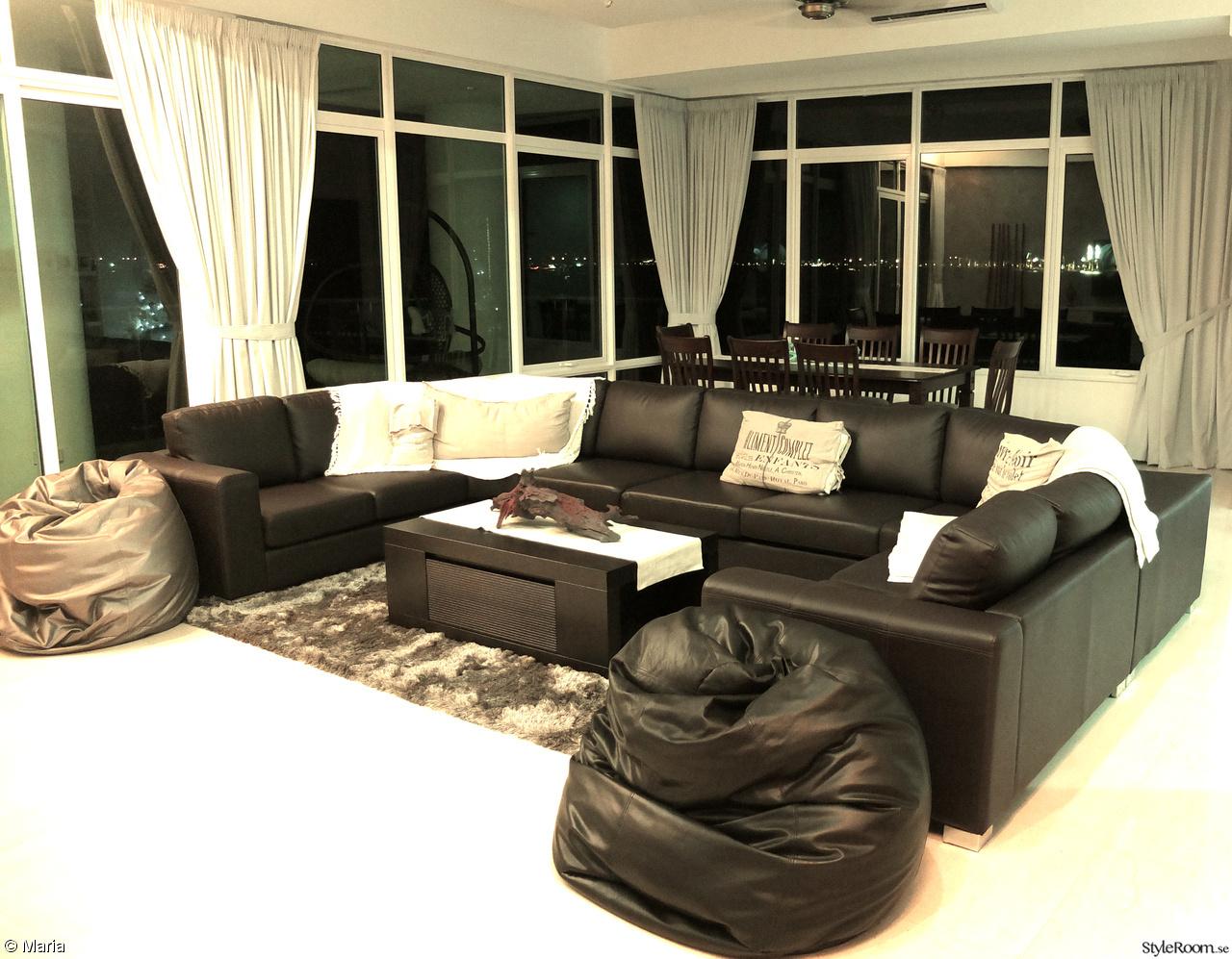 new england köksbord : mörk soffa,pläd,kuddar,beanbag,matta ...