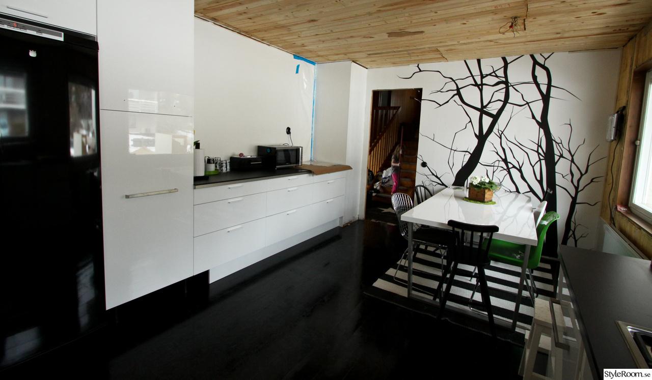 k?k svarta luckor  k?k,svart golv,tr?golv,randig tapet,sideboard