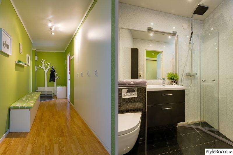 hall,lång hall,klädhängare träd,badrum efter renovering,vägghängd toalett,stor spegel