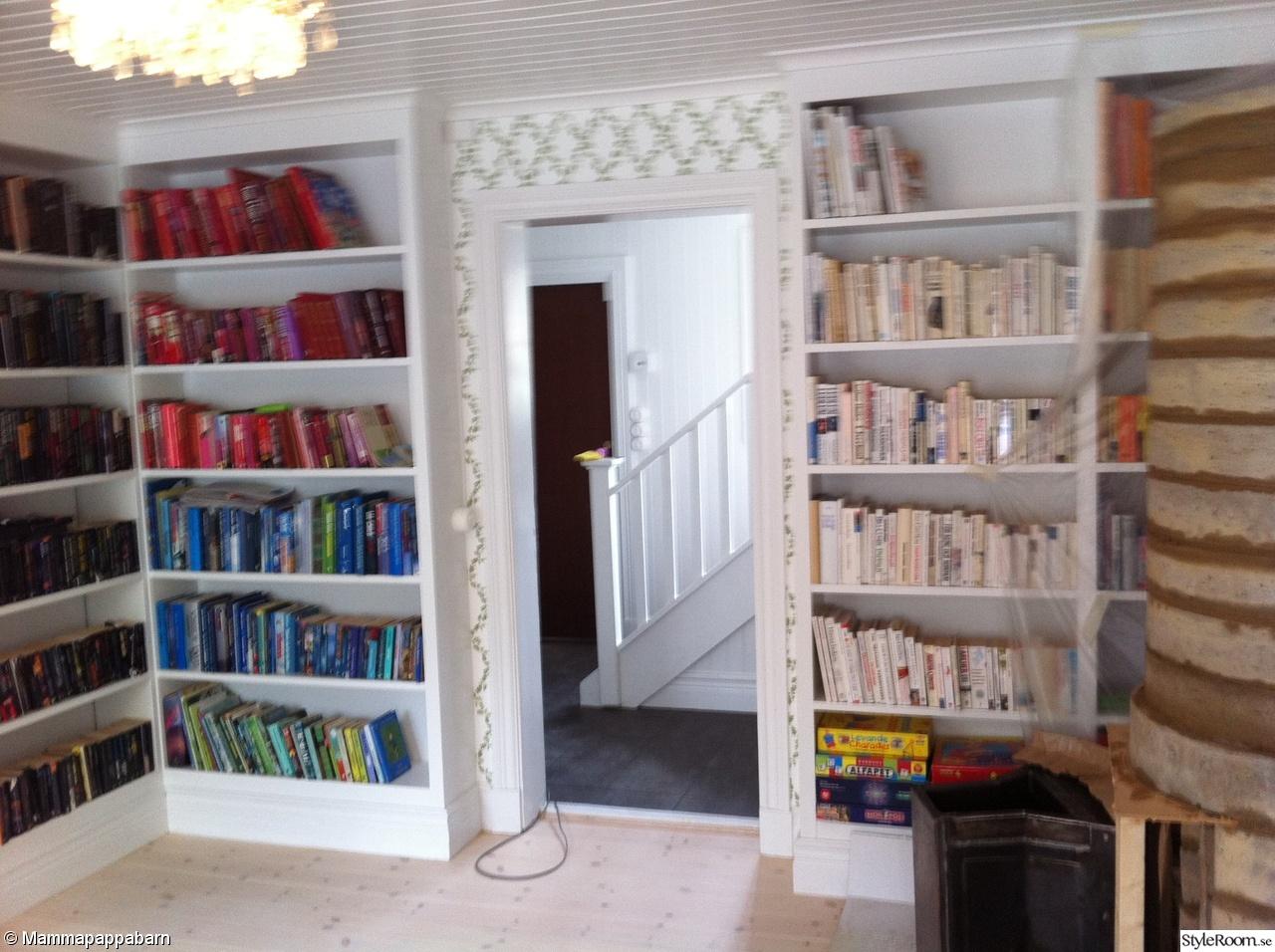 bokhyllor,inbyggda bokhyllor,sandbergs tapeter,bibliotek