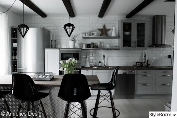 Kok Industridesign : Bild po rostfritt  Kok med industriell stil av Svartvittochrott