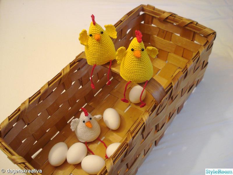 höna,påsk,kyckling,gult,virkat