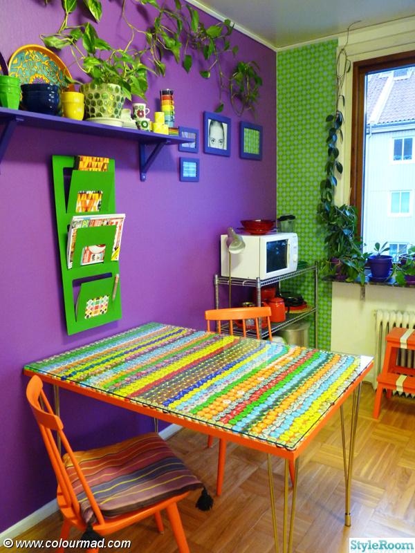 lila,köksbord,kök,orange,grönt