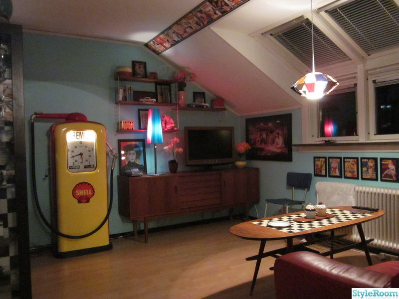 50-tal,retro,nostalgi,vardagsrum,bensinpump