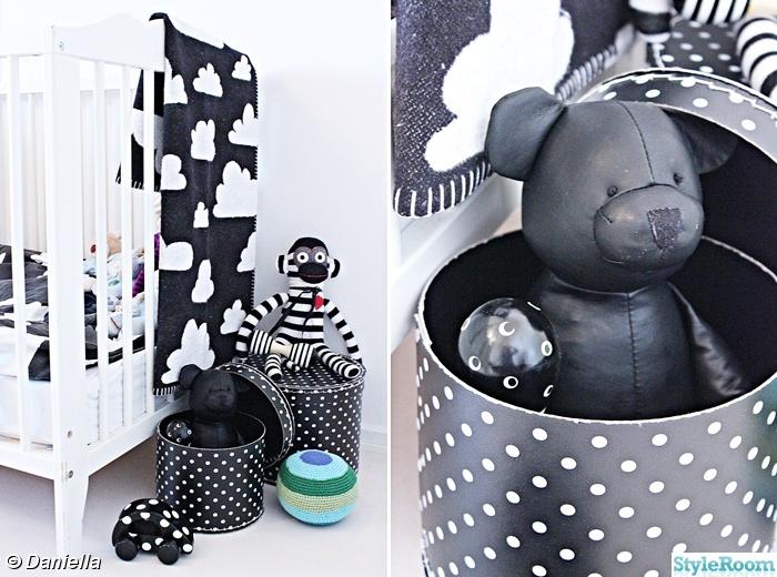 svartvitt,spjälsäng,barnrum