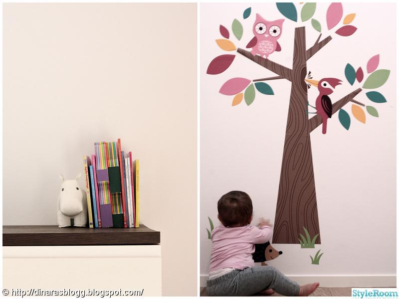 väggdekal,barnbyrå,bokställ,barnrum,väggmålning