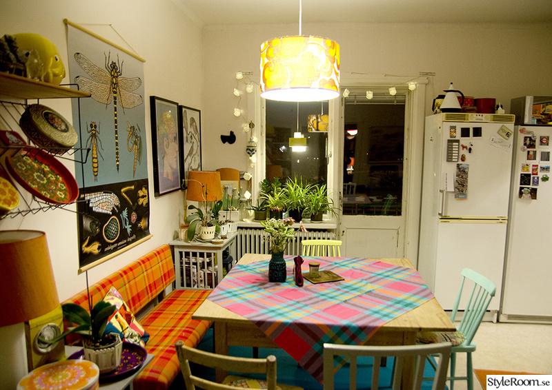 matplats,retro,färgglatt,orange,kök