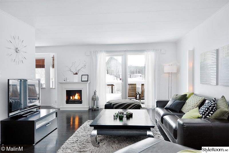 vardagsrum,öppenspis,svartvitt