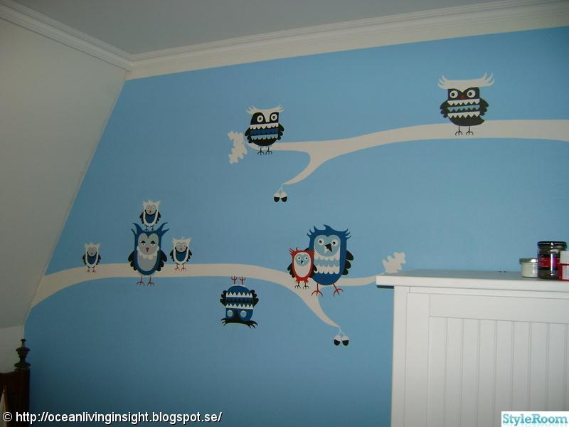 väggmålning,uggla,väggmålning barnrum,ugglor
