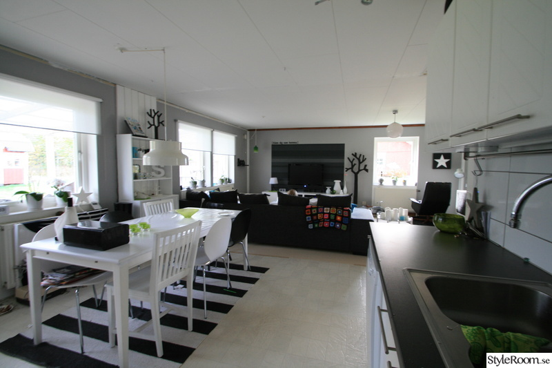 fondvägg,vardagsrum,vitt,svart,kök
