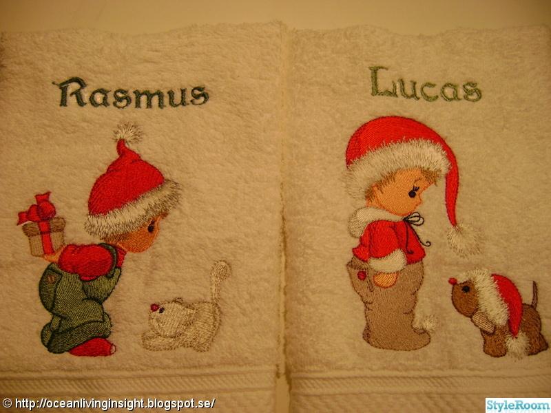 handdukar,broderi,jul handdukar