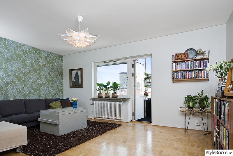 vardagsrum,stringhylla,tapet,taklampa,50-tal