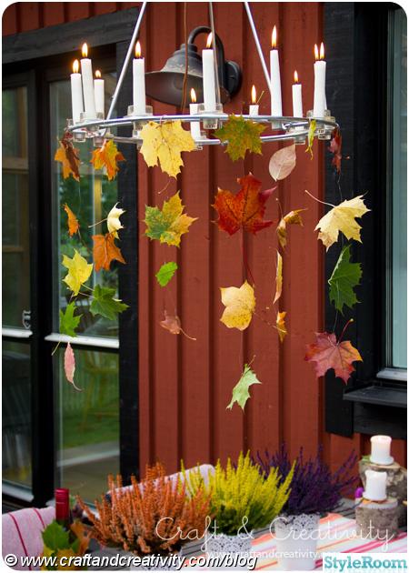 höstlov,löv,höst ljuskrona,dukning,bordsdukning