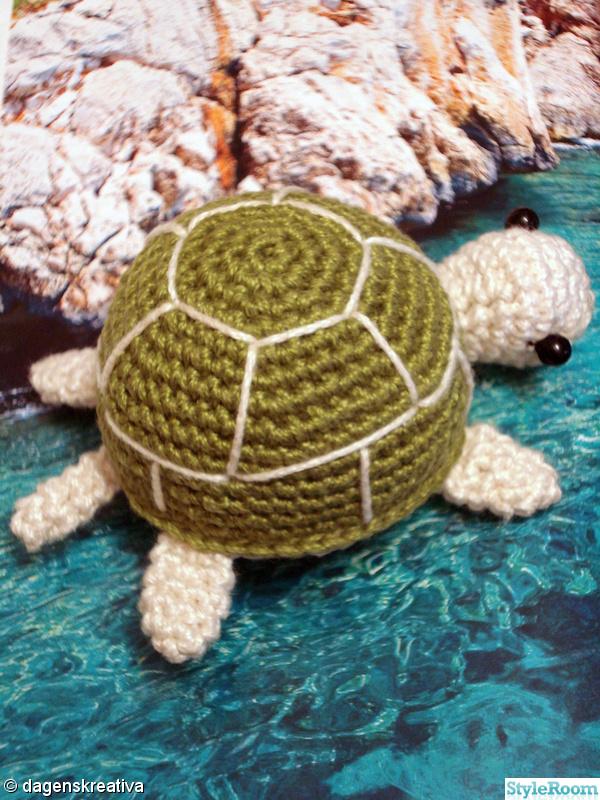 grön,virkat,sköldpadda,dagenskreativa