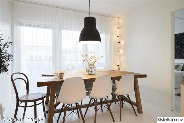 rustik bord,hektar ikea lampa,eames,ljusslinga,matplats