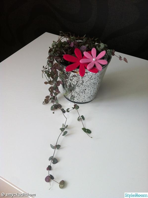 rosa,kruka,blommor,silver,hjärta på tråd