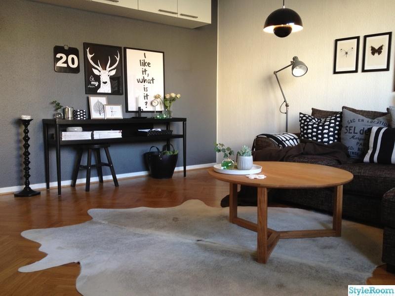 svartvitt,vardagsrum,flowerpot verner panton,golvlampa ikea aröd,sidobord ikea stockholm