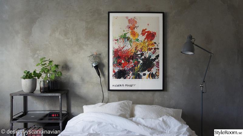 tavla,säng,lampa,ikea,betong