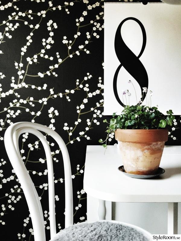 svart tapet med blommönster i kök