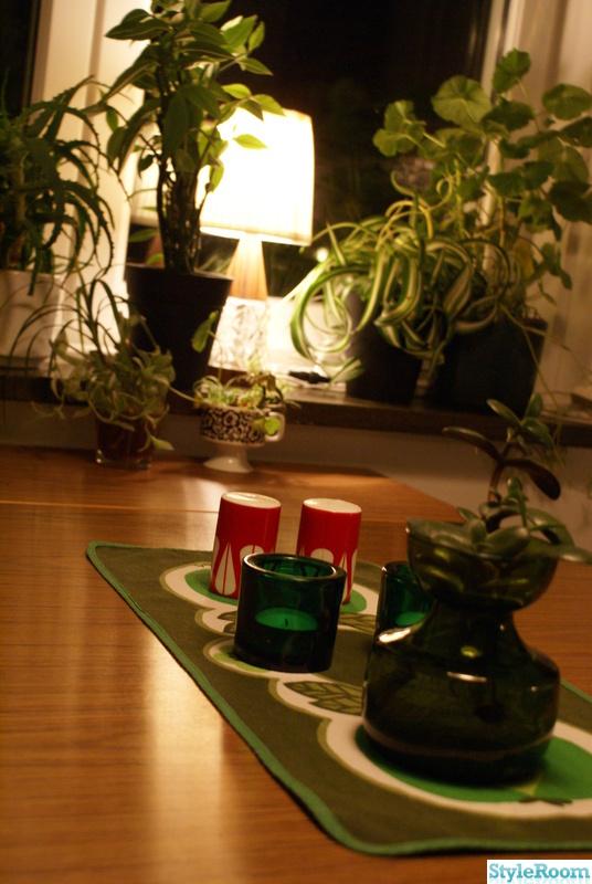 50-tal,grönt,duk,växter,ljusstakar