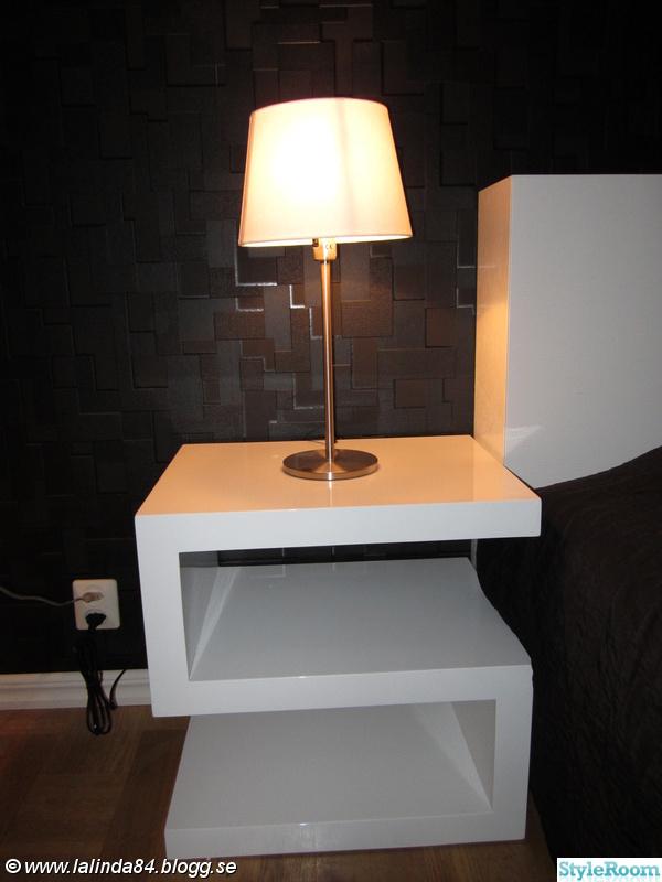 sängbord,vitt högblankt