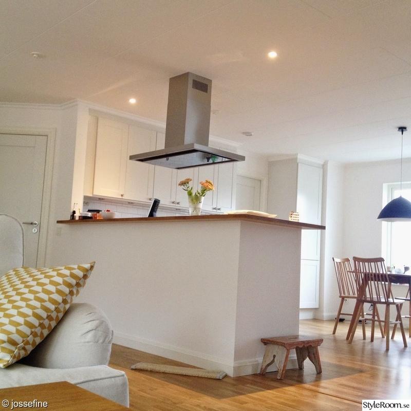 öppen planlösning,vita väggar,ljust,kökö,vardagsrum