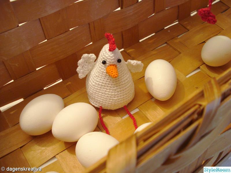 höna,påsk,kyckling,virkat,vitt