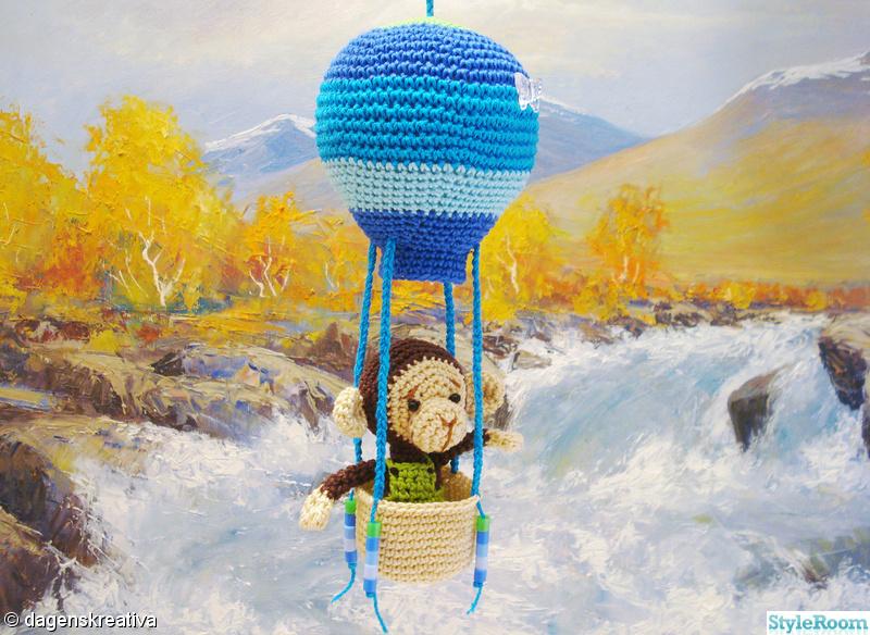 barnrum,grön,virkat,blå,luftballong