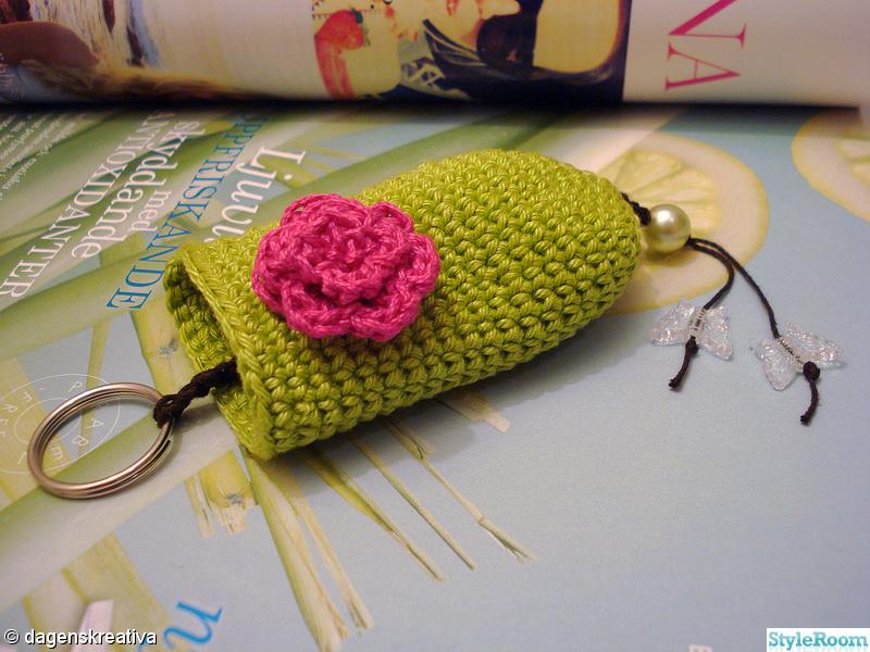 rosa,grönt,ros,virkat,dagenskreativa
