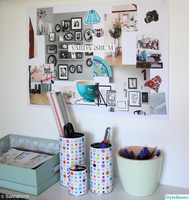 skrivbord,arbetsrum,vardagsrum,collage,kreativitet