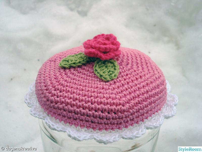rosa,virkat,prinsesstårta,dagenskreativa,burklock