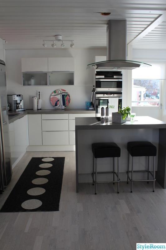 Pappelina Matta Kok : Bild po kokso  Vardagsrum, kok, matrum, hall av svartvitt