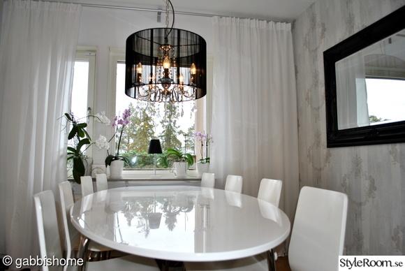 köksbord,matbord,fondvägg,prismorlampa,köksgardiner