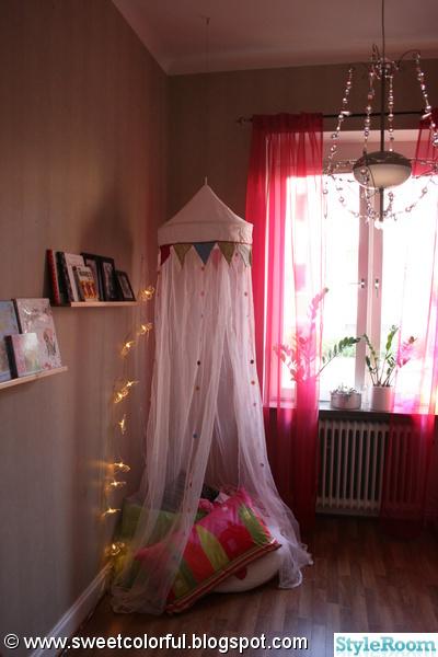 sagotält,sänghimmel,kuddar,myshörna,lampa