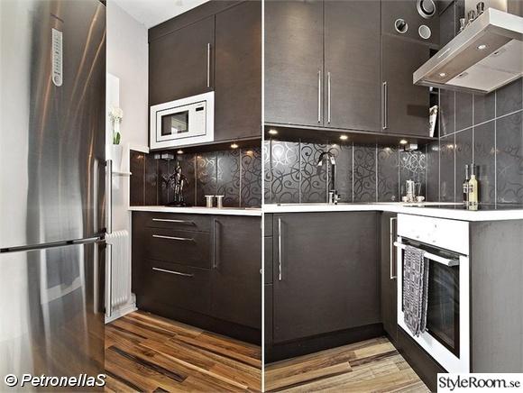 marbodal,svart kakel,svart kök,rostfri kyl,härjedalskök