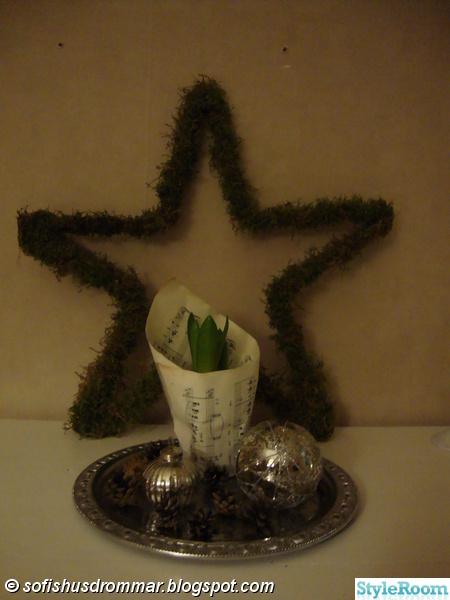 moss stjärna,hyacint,julkulor