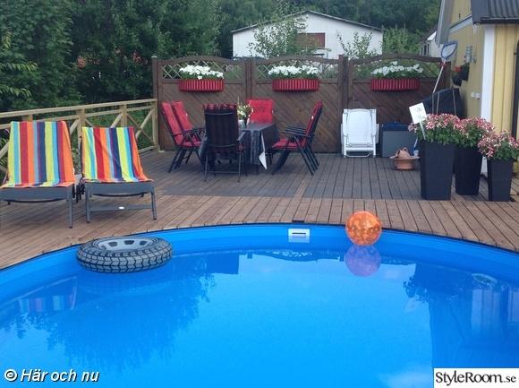 pool,trädäck,utemöbler,blomsterlådor,inspiration