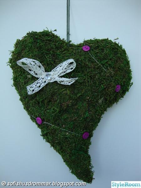 mosshjärta,pyssel,dekoration,höst,höstpyssel