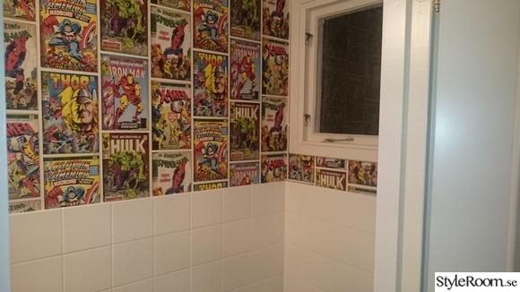 toalett kakel,toalett efter renovering,toaletten,serietapet,serietidningar