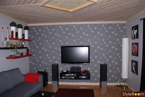 mediamöbel,matta,tak,lampor,hylla