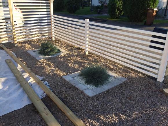 grus,staket,grönt,sten,trädgård