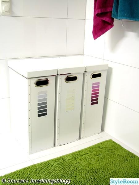 badrum,tvättkorgar,färgprover,sortering,badrumsinspiration
