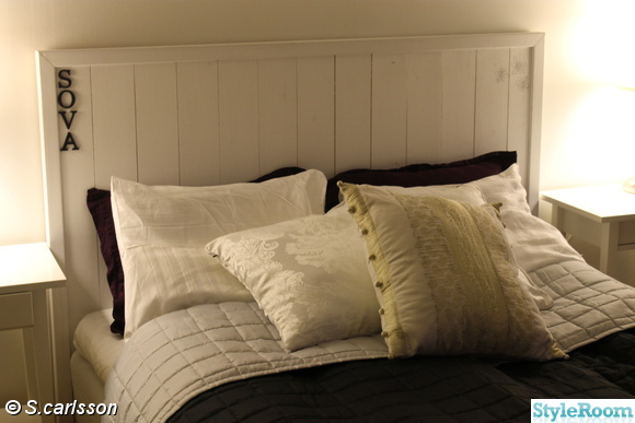 Inspirerande bilder på säng hemmagjord sänggavel kuddar