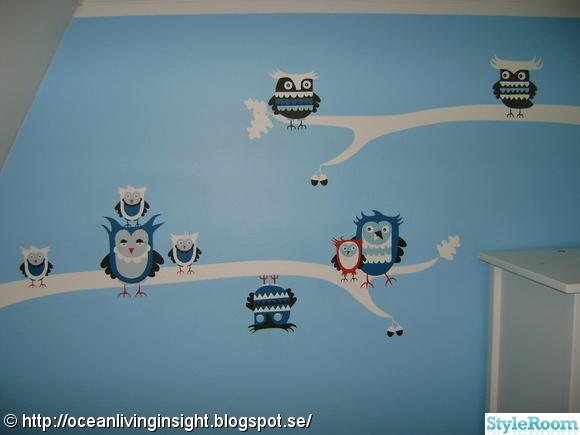 ugglor,väggmålning,barnrum,fondvägg,turkos