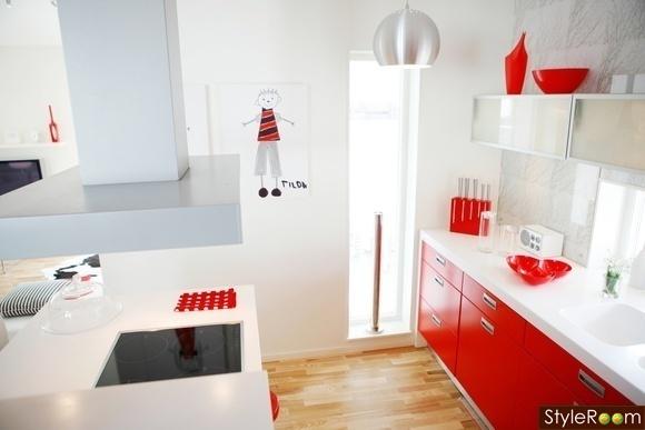 rött kök : Bilder, Kök matplats, Rutigt golv, Matbord, rött, Tapet ...