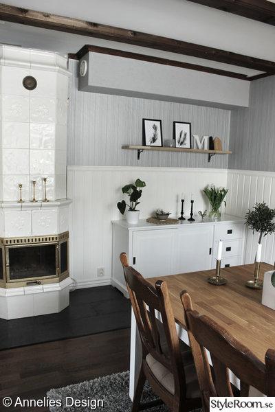 kakelugn,matsal,renoverad matsal,renoverat vardagsrum,matsalsbord