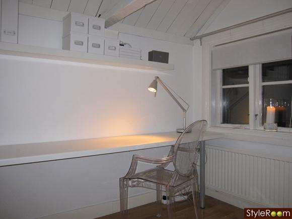 kontor,kartell ghost,vindsvåning,arbetshörna,hemmakontor